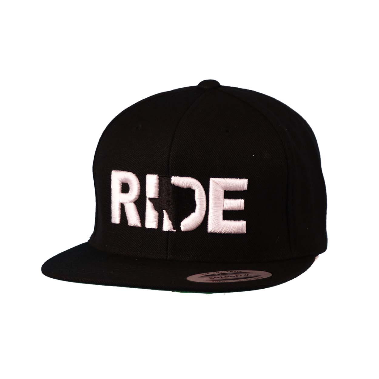 Ride Texas Classic Embroidered Snapback Flat Brim Hat Black/White