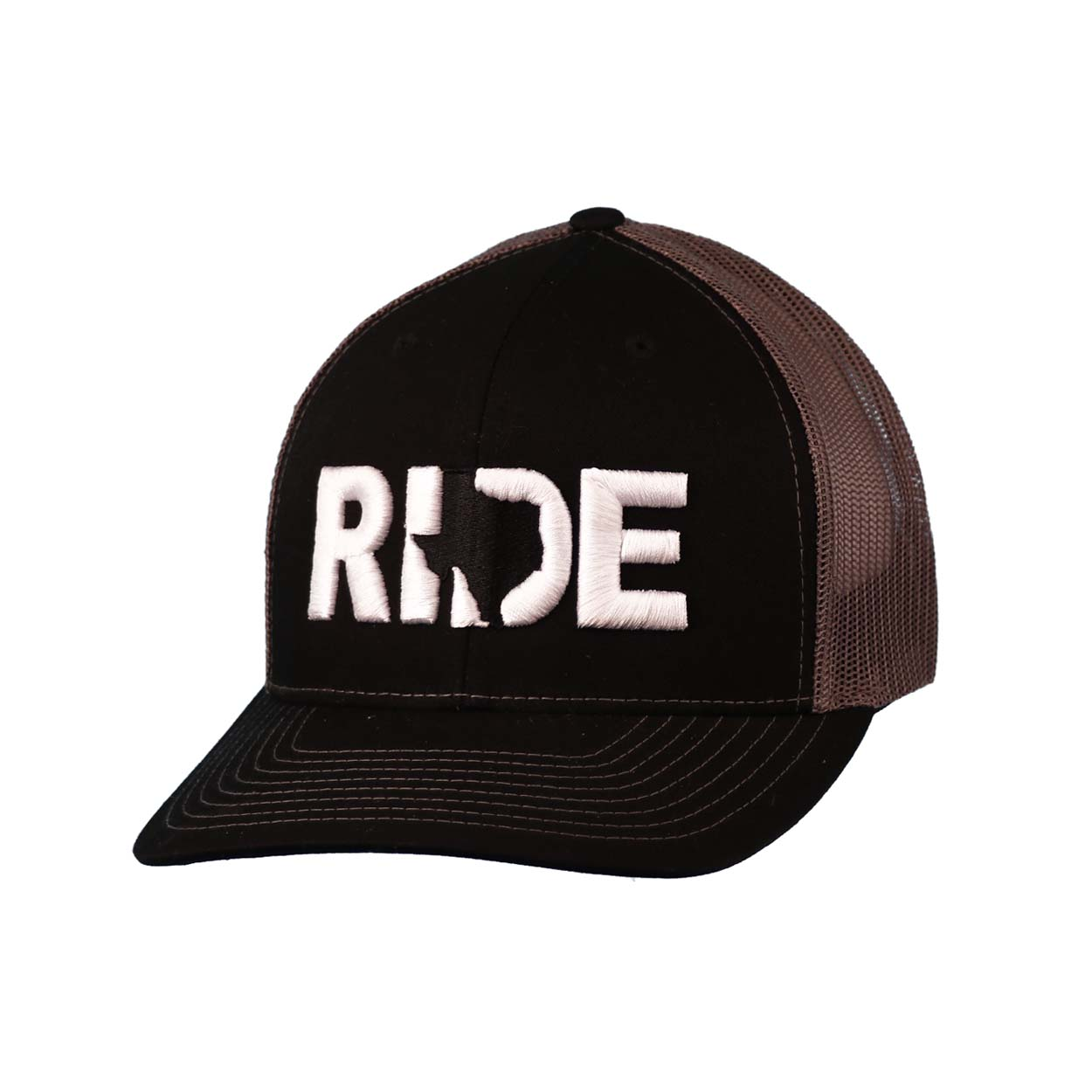 Ride Texas Classic Embroidered Snapback Trucker Hat Black/White
