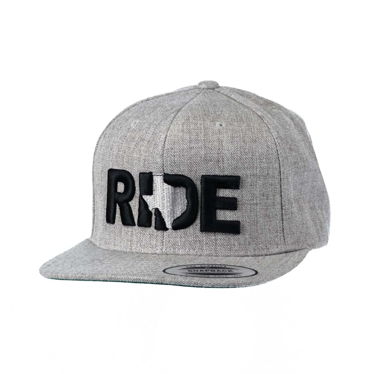 Ride Texas Classic Embroidered Snapback Flat Brim Hat Gray/Black