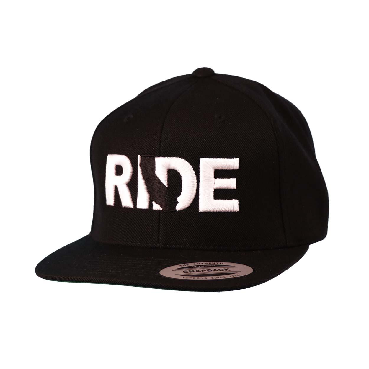 Ride California Classic Embroidered Snapback Flat Brim Hat Black/White