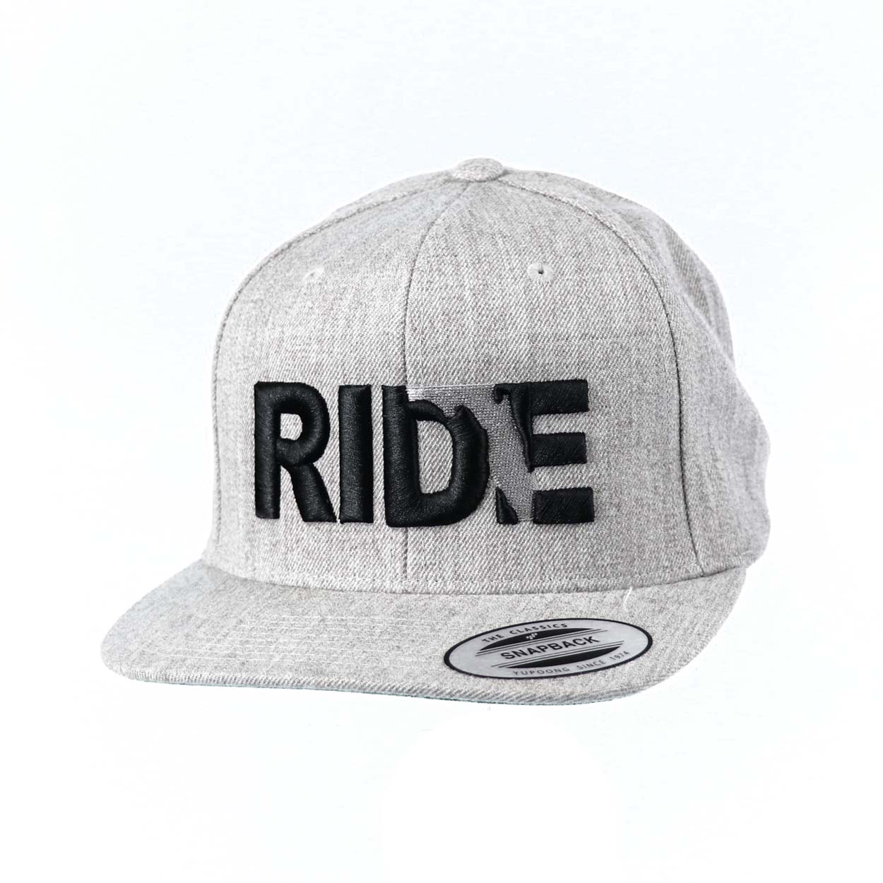 Ride Florida Classic Embroidered  Snapback Flat Brim Hat Gray/Black