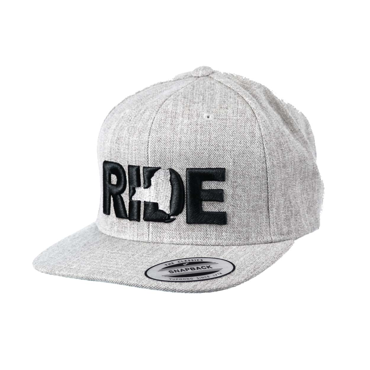 Ride New York Classic Embroidered  Snapback Flat Brim Hat Gray/Black