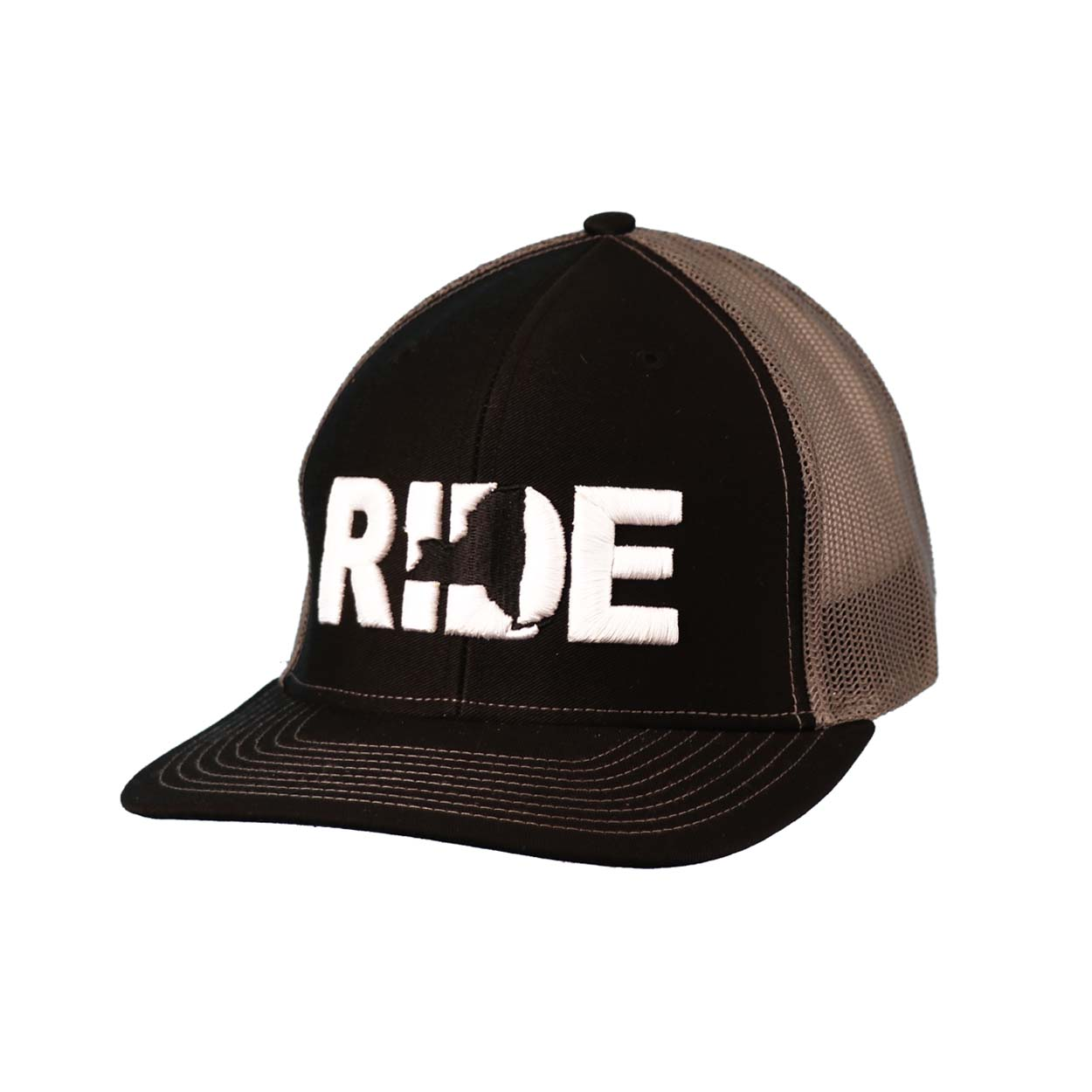 Ride New York Classic Embroidered Snapback Trucker Hat Black/White