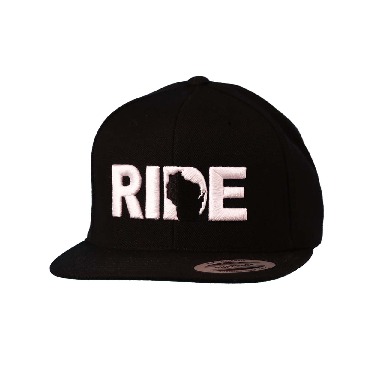Ride Wisconsin Classic Embroidered  Snapback Flat Brim Hat Black/White