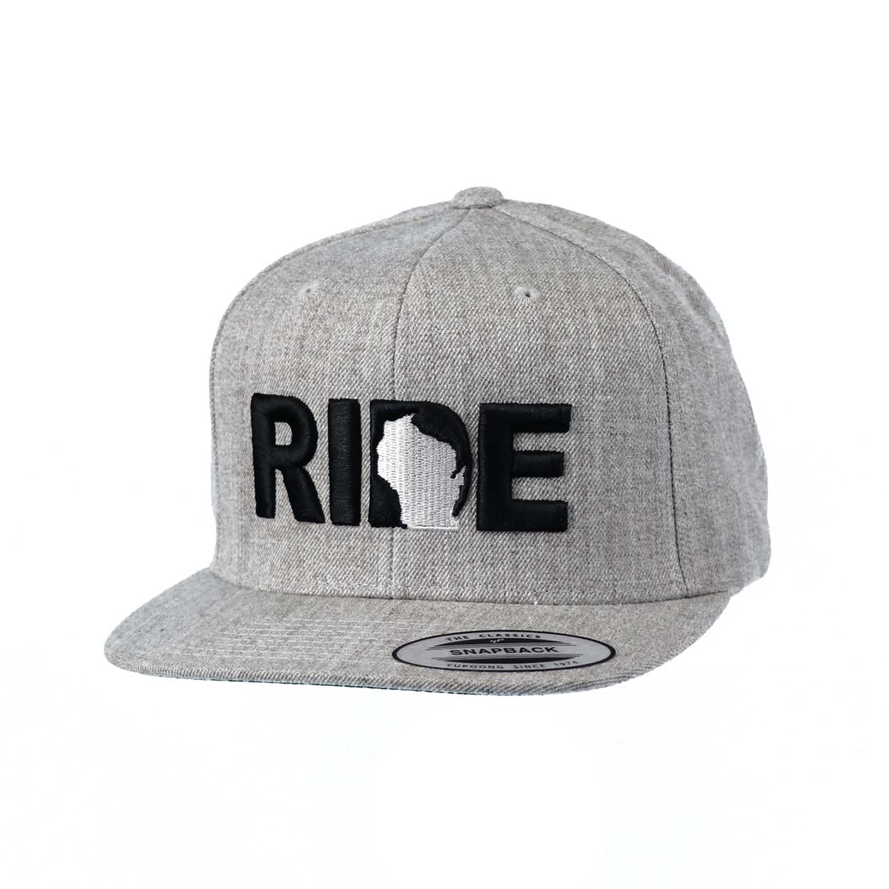 Ride Wisconsin Classic Embroidered  Snapback Flat Brim Hat Gray/Black
