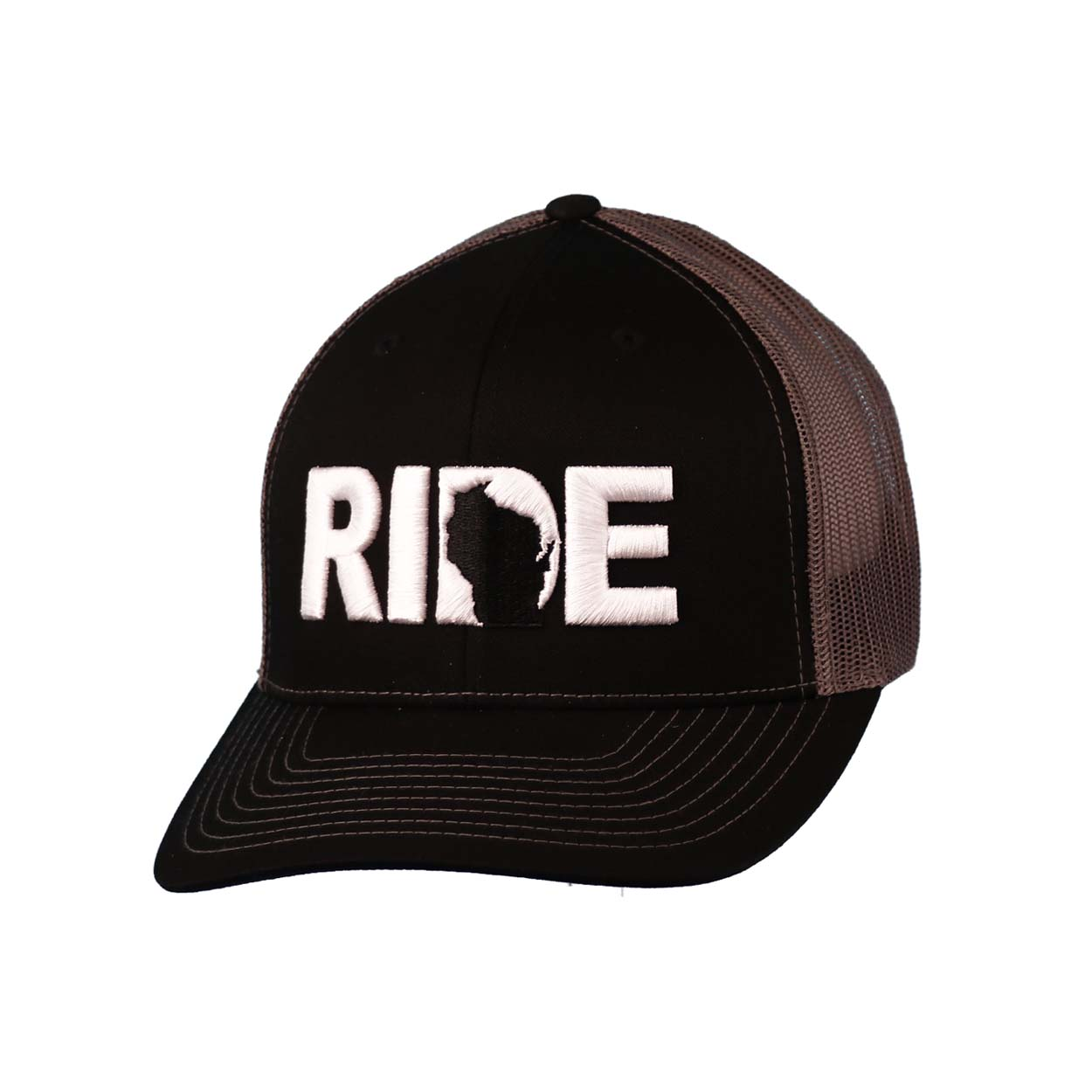 Ride Wisconsin Classic Embroidered Snapback Trucker Hat Black/White