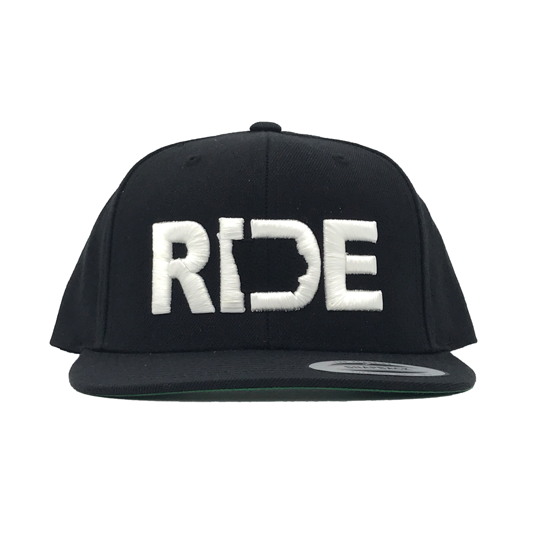 Ride Iowa Classic Embroidered  Snapback Flat Brim Hat Black/White
