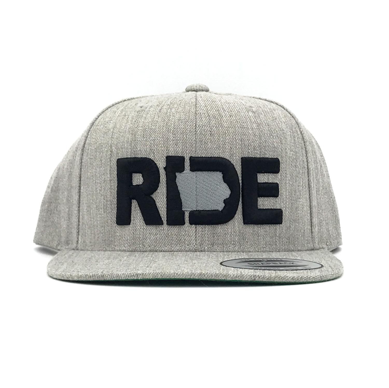 Ride Iowa Classic Embroidered  Snapback Flat Brim Hat Gray/Black