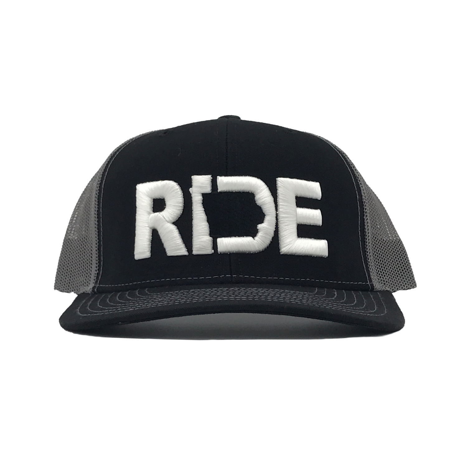 Ride Iowa Classic Embroidered Snapback Snapback Trucker Hat Black/White