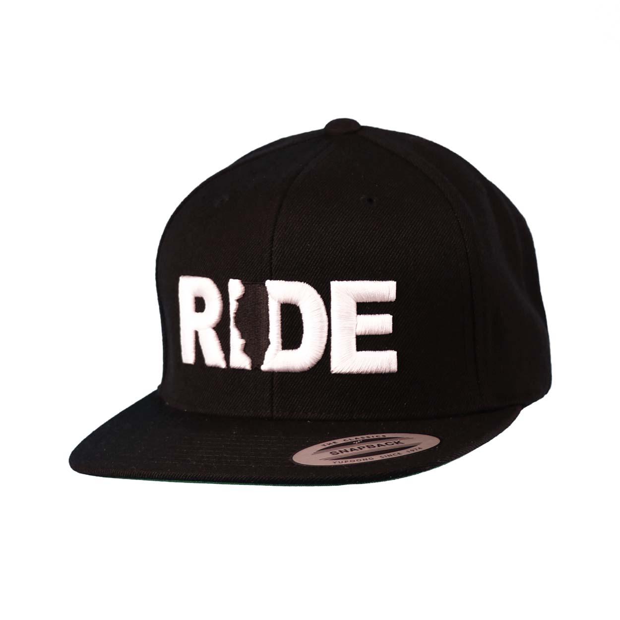 Ride Illinois Classic Embroidered  Snapback Flat Brim Hat Black/White