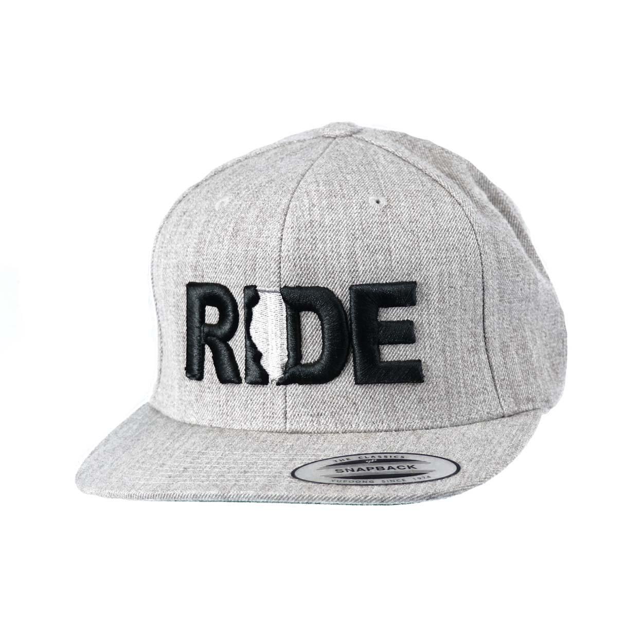 Ride Illinois Classic Embroidered  Snapback Flat Brim Hat Gray/Black