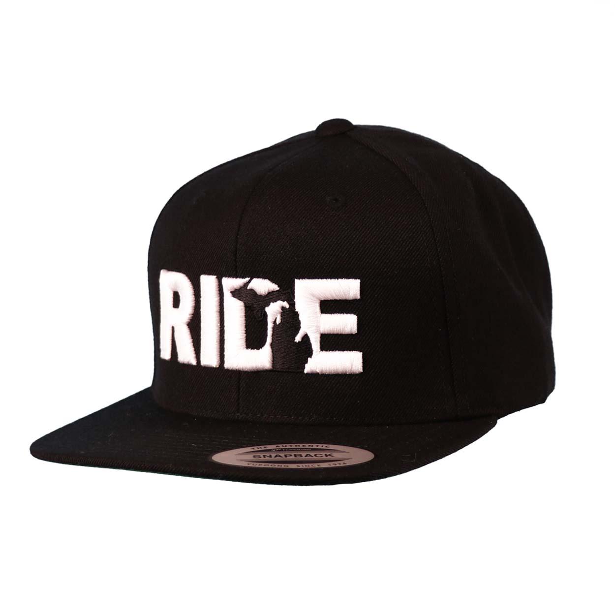 Ride Michigan Classic Embroidered  Snapback Flat Brim Hat Black/White