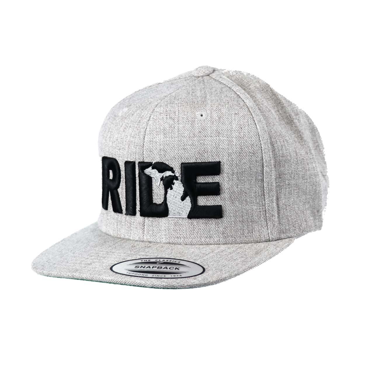 Ride Michigan Classic Embroidered  Snapback Flat Brim Hat Gray/Black