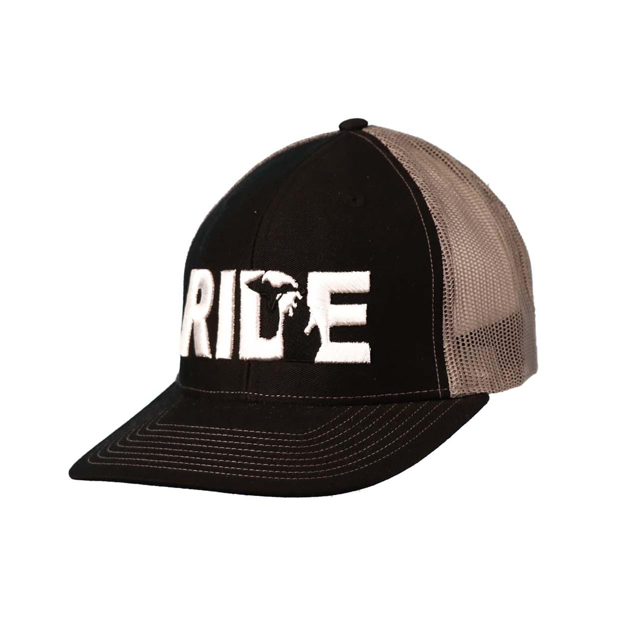 Ride Michigan Classic Embroidered Snapback Trucker Hat Black/White