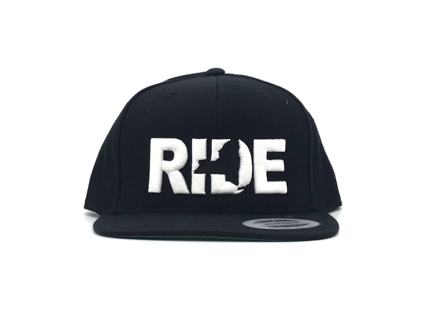 Ride New York Classic Embroidered  Snapback Flat Brim Hat Black/White