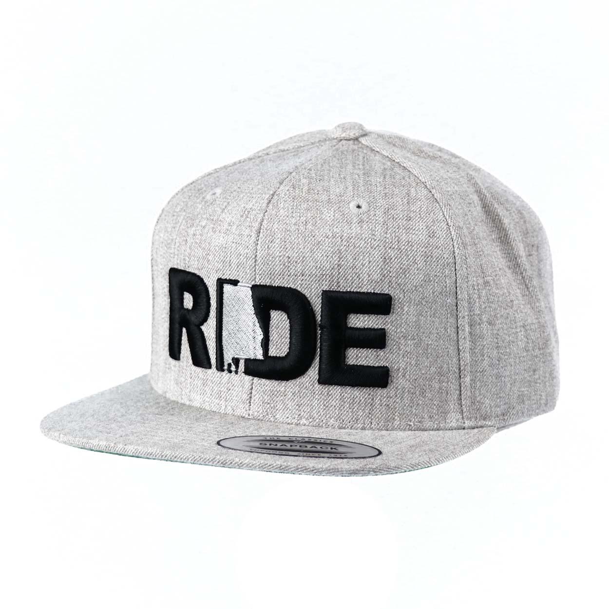 Ride Alabama Classic Embroidered  Snapback Flat Brim Hat Gray/Black