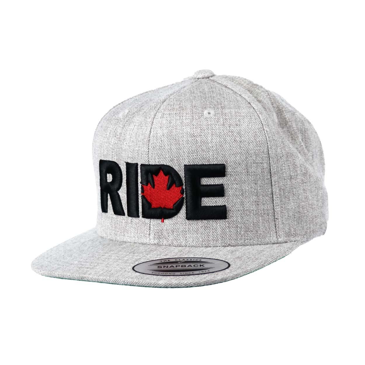 Ride Canada Classic Embroidered  Snapback Flat Brim Hat Gray/Black