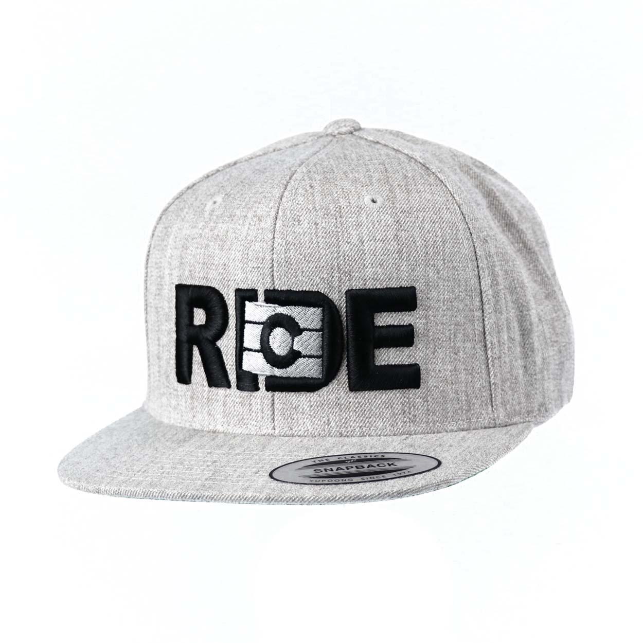 Ride Colorado Classic Embroidered  Snapback Flat Brim Hat Gray/Black