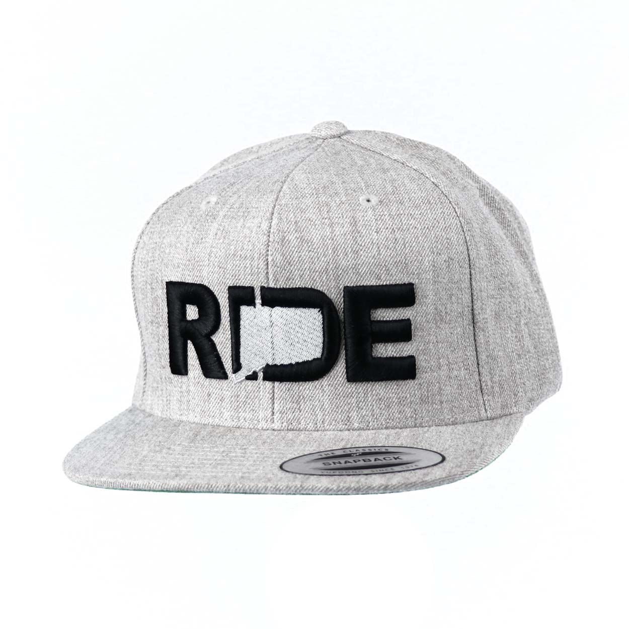 Ride Connecticut Classic Embroidered  Snapback Flat Brim Hat Gray/Black