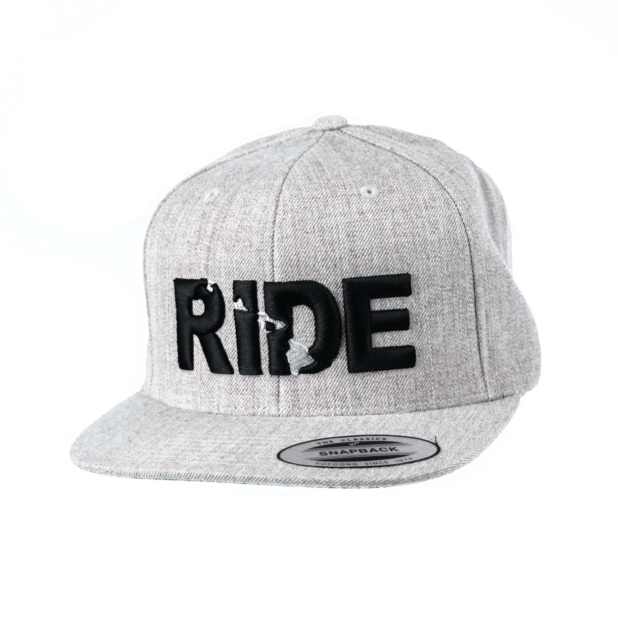 Ride Hawaii Classic Embroidered  Snapback Flat Brim Hat Gray/Black