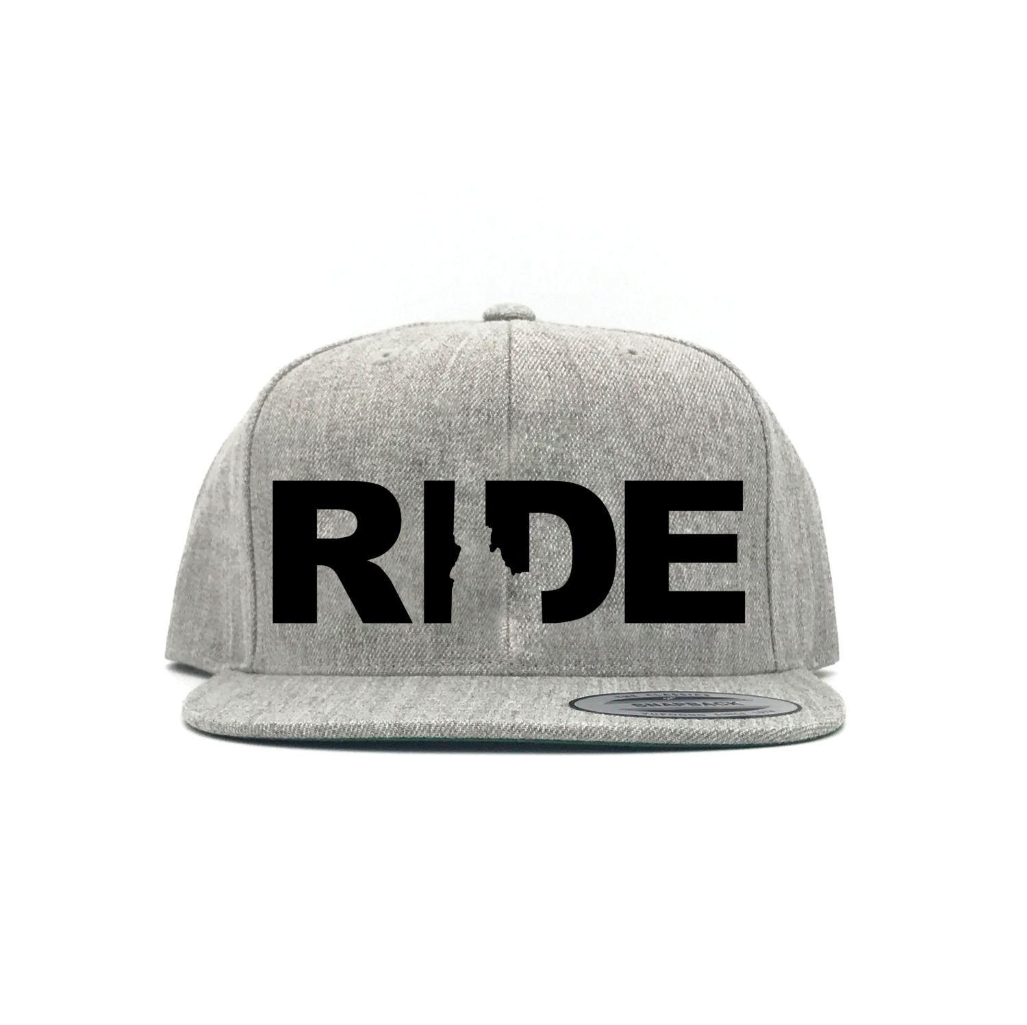 Ride Idaho Classic Embroidered  Snapback Flat Brim Hat Gray/Black