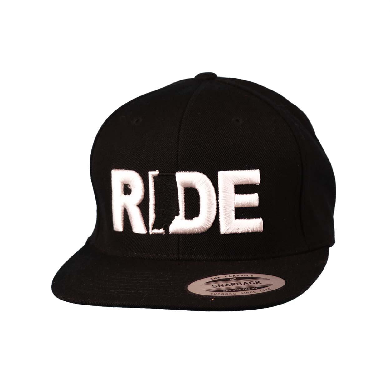 Ride Indiana Classic Embroidered  Snapback Flat Brim Hat Black/White