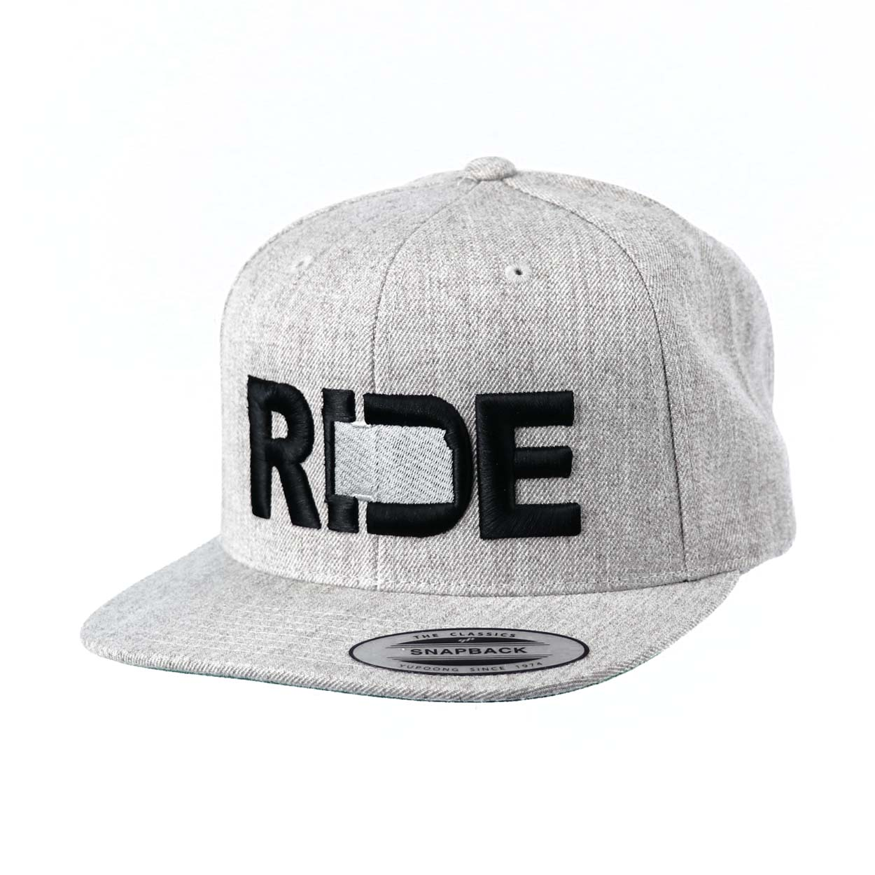 Ride Kansas Classic Embroidered  Snapback Flat Brim Hat Gray/Black