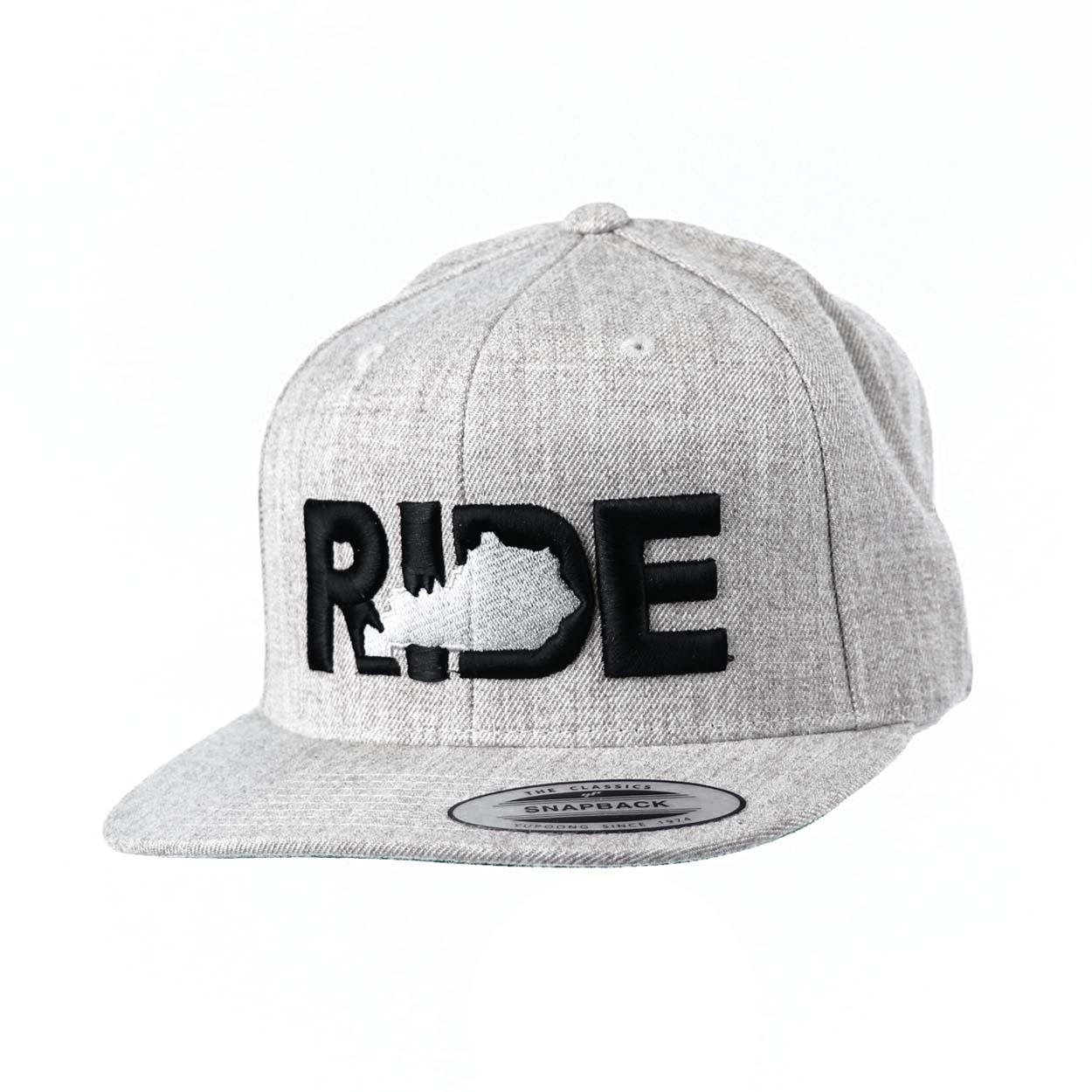 Ride Kentucky Classic Embroidered  Snapback Flat Brim Hat Gray/Black