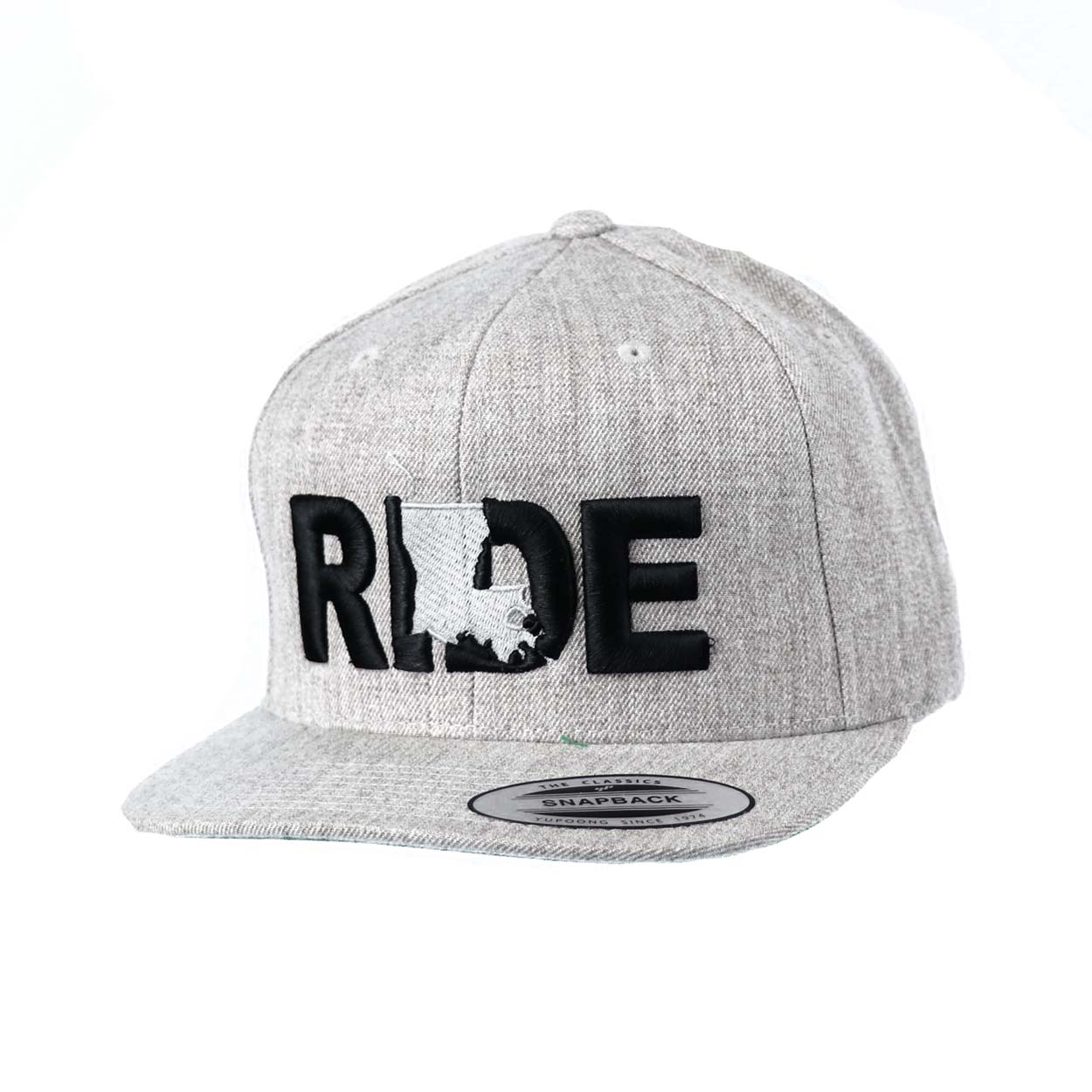 Ride Louisiana Classic Embroidered  Snapback Flat Brim Hat Gray/Black