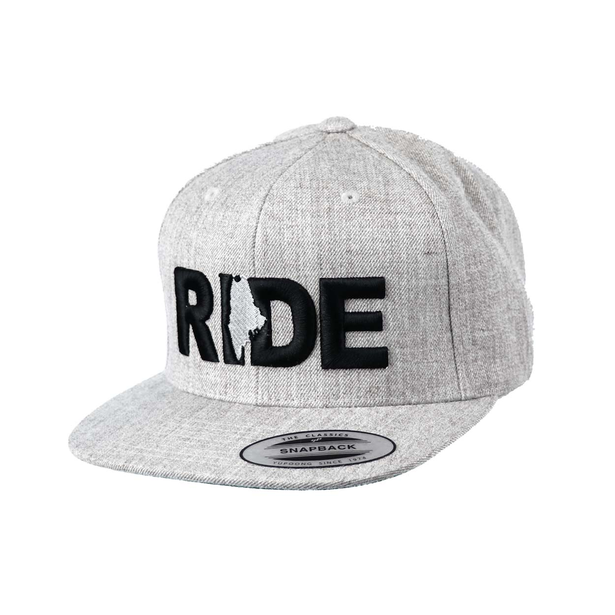 Ride Maine Classic Embroidered  Snapback Flat Brim Hat Gray/Black