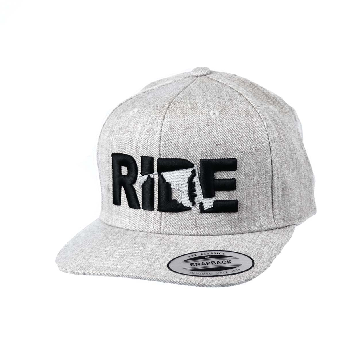 Ride Maryland Classic Embroidered  Snapback Flat Brim Hat Gray/Black