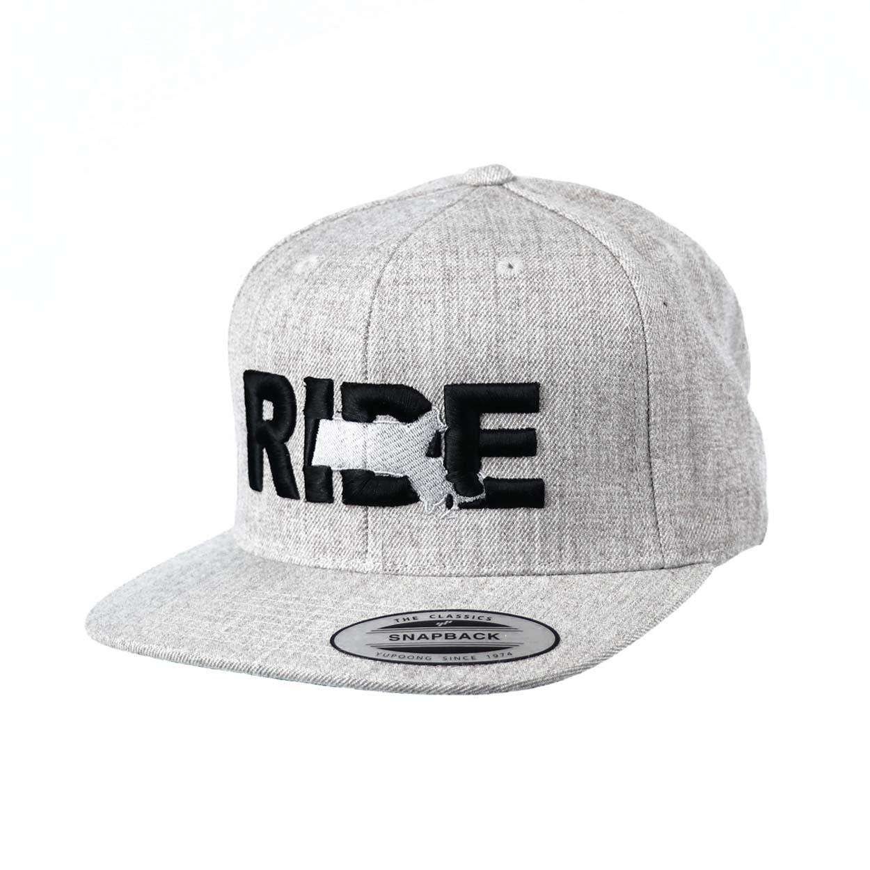 Ride Massachusetts Classic Embroidered Snapback Flat Brim Hat Gray/Black