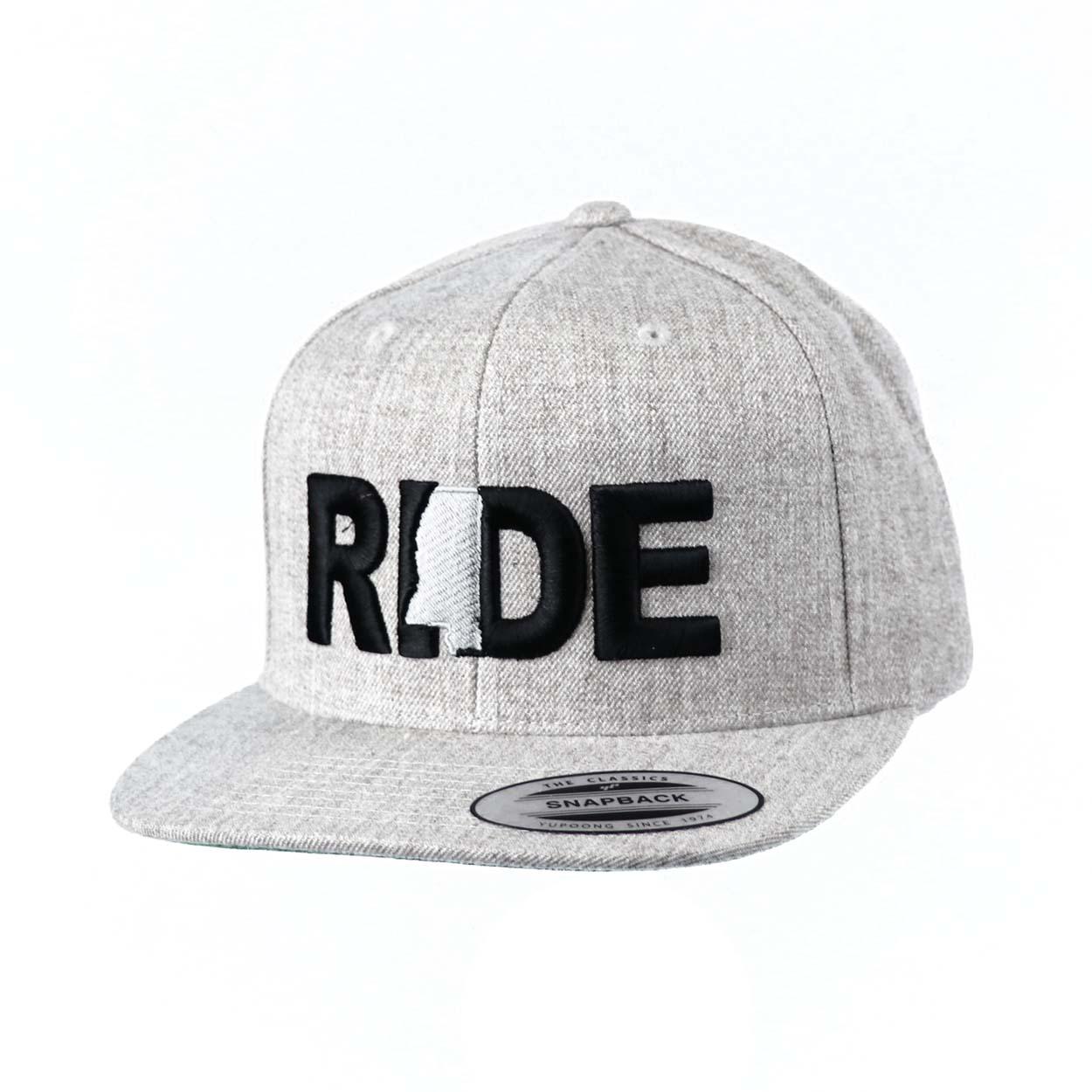 Ride Mississippi Classic Embroidered  Snapback Flat Brim Hat Gray/Black