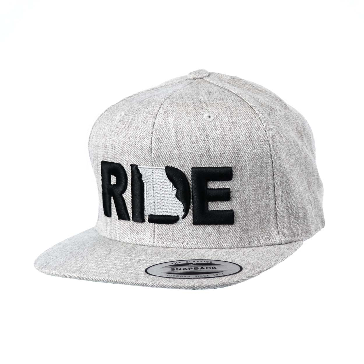 Ride Missouri Classic Embroidered  Snapback Flat Brim Hat Gray/Black
