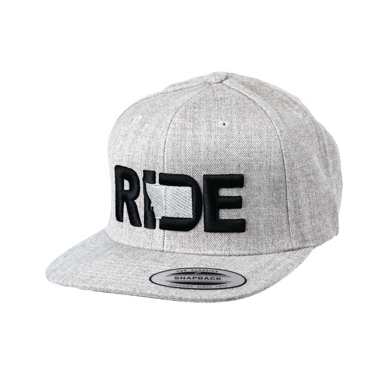 Ride Montana Classic Embroidered  Snapback Flat Brim Hat Gray/Black
