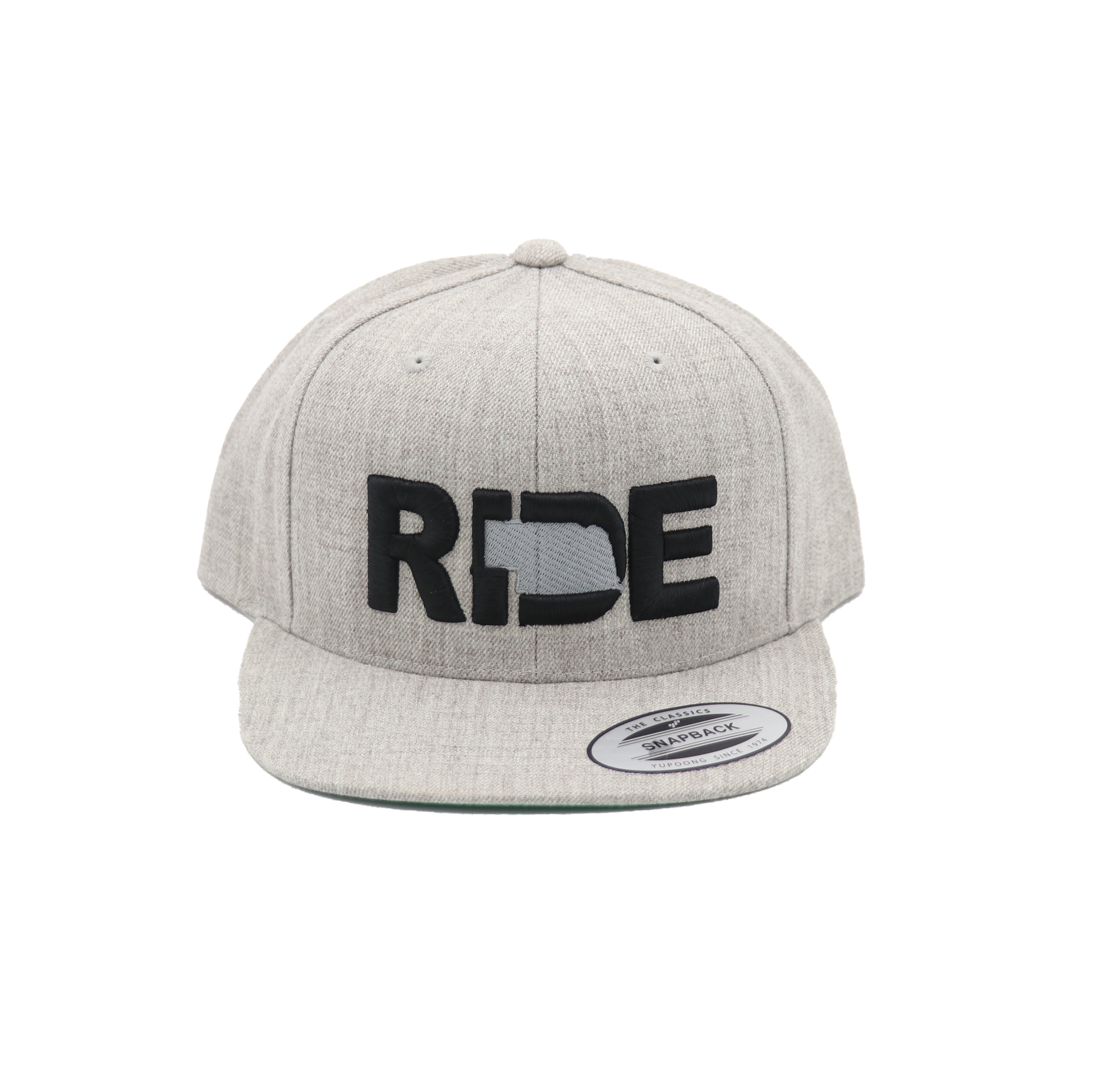 Ride Nebraska Classic Embroidered  Snapback Flat Brim Hat Gray/Black