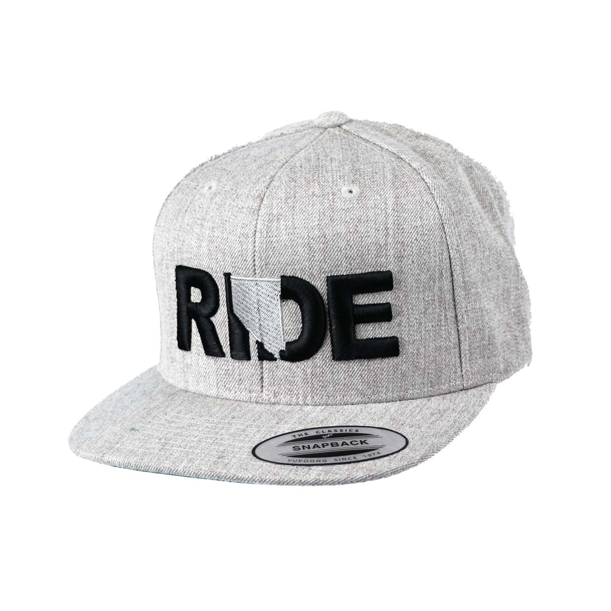 Ride Nevada Classic Embroidered  Snapback Flat Brim Hat Gray/Black
