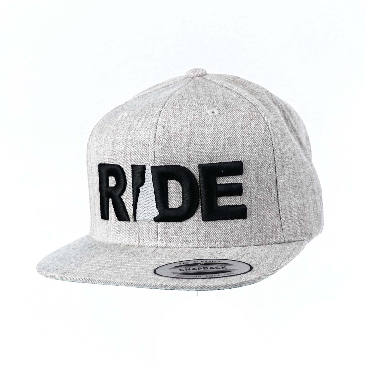 Ride New Hampshire Classic Embroidered  Snapback Flat Brim Hat Gray/Black
