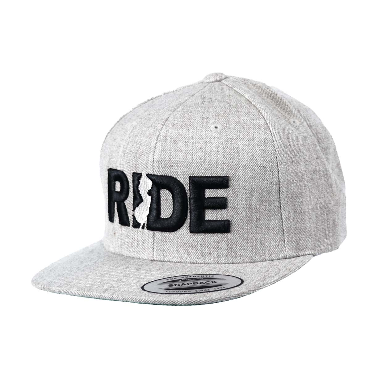 Ride New Jersey Classic Embroidered  Snapback Flat Brim Hat Gray/Black