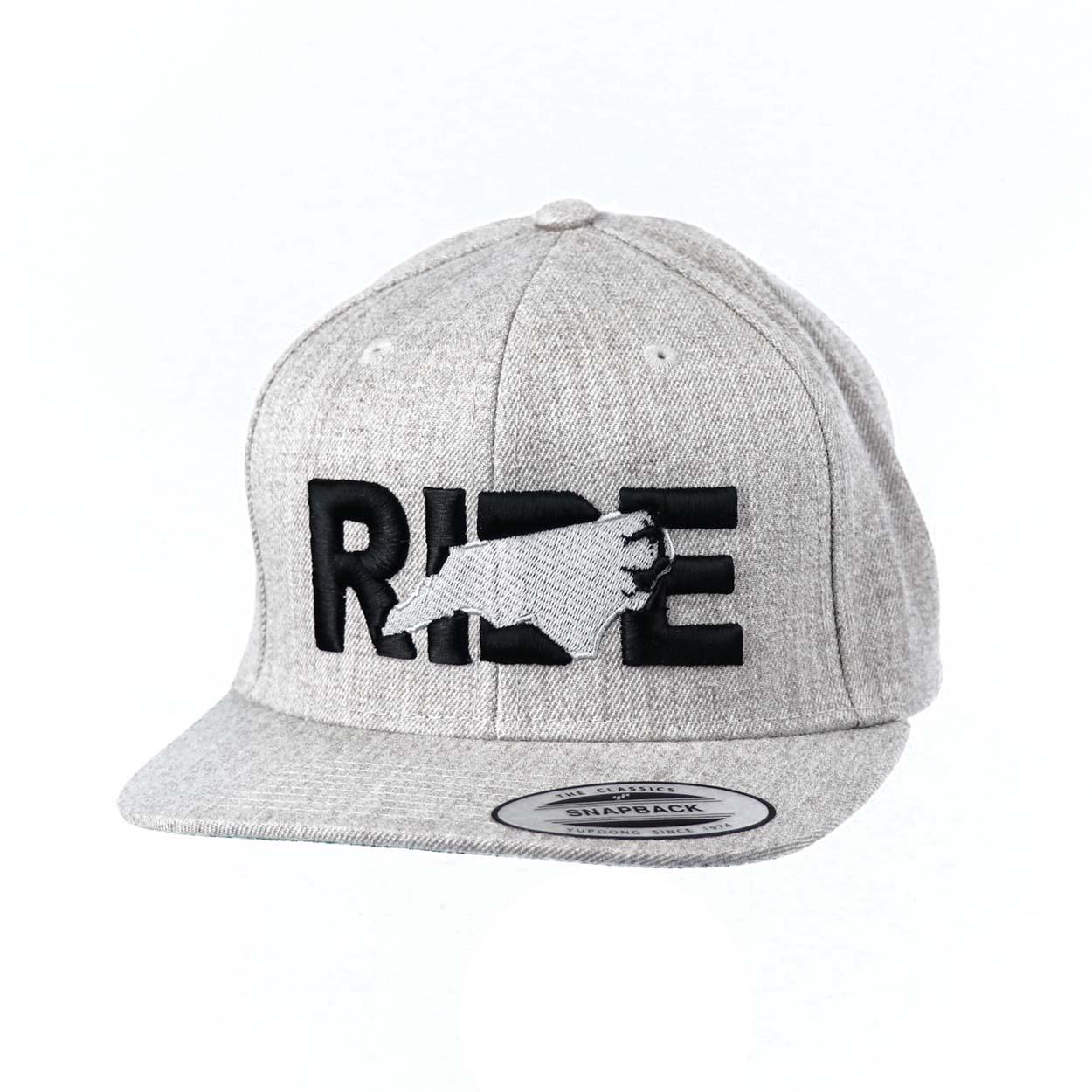 Ride North Carolina Classic Embroidered  Snapback Flat Brim Hat Gray/Black