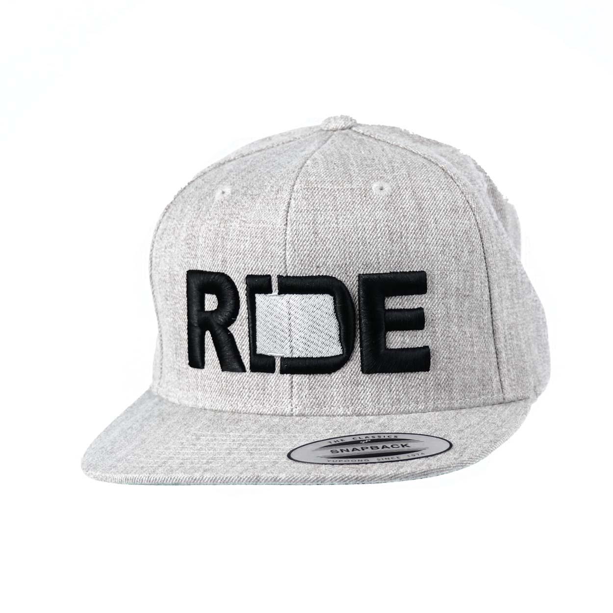Ride North Dakota Classic Embroidered  Snapback Flat Brim Hat Gray/Black