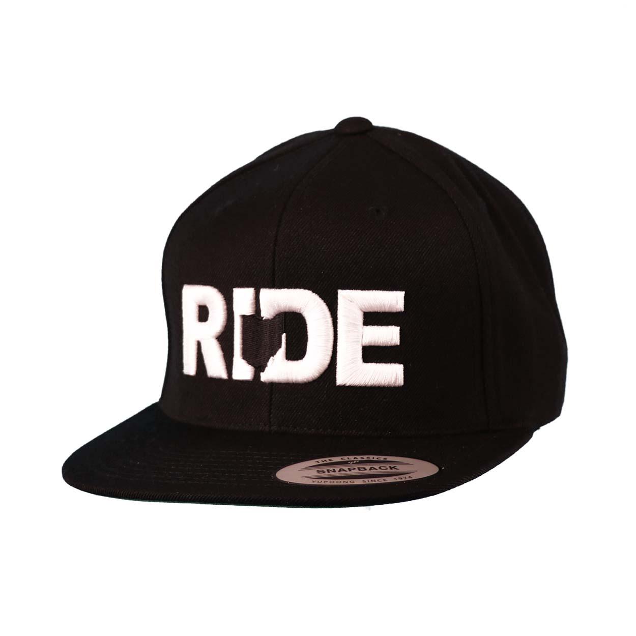 Ride Ohio Hat Classic Embroidered  Snapback Flat Brim Hat Black/White