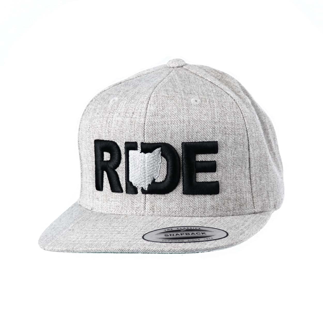 Ride Ohio Classic Embroidered  Snapback Flat Brim Hat Gray/Black