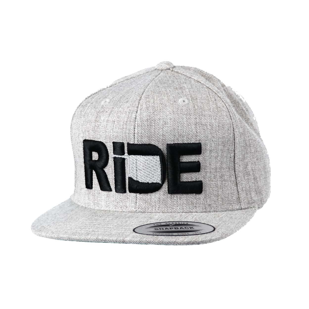 Ride Oklahoma Classic Embroidered  Snapback Flat Brim Hat Gray/Black
