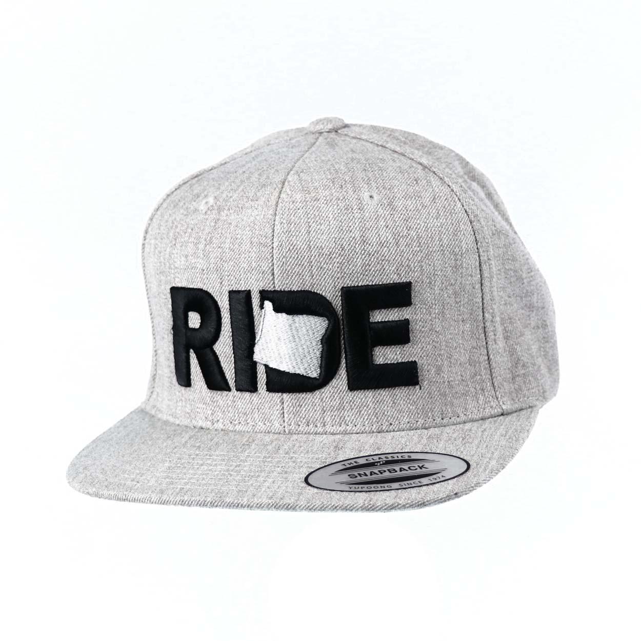 Ride Oregon Classic Embroidered  Snapback Flat Brim Hat Gray/Black