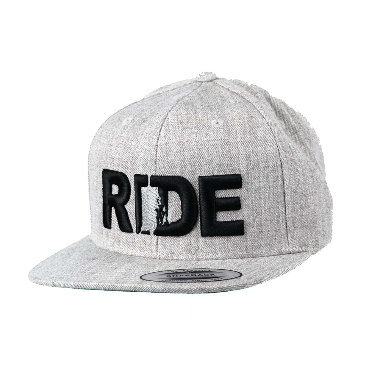 Ride Rhode Island Classic Embroidered Snapback Flat Brim Hat Gray/Black