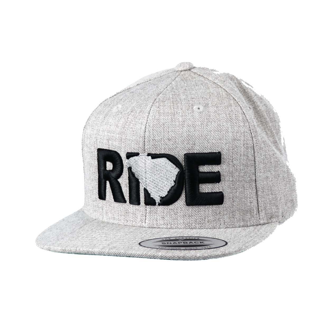 Ride South Carolina Classic Embroidered  Snapback Flat Brim Hat Gray/Black