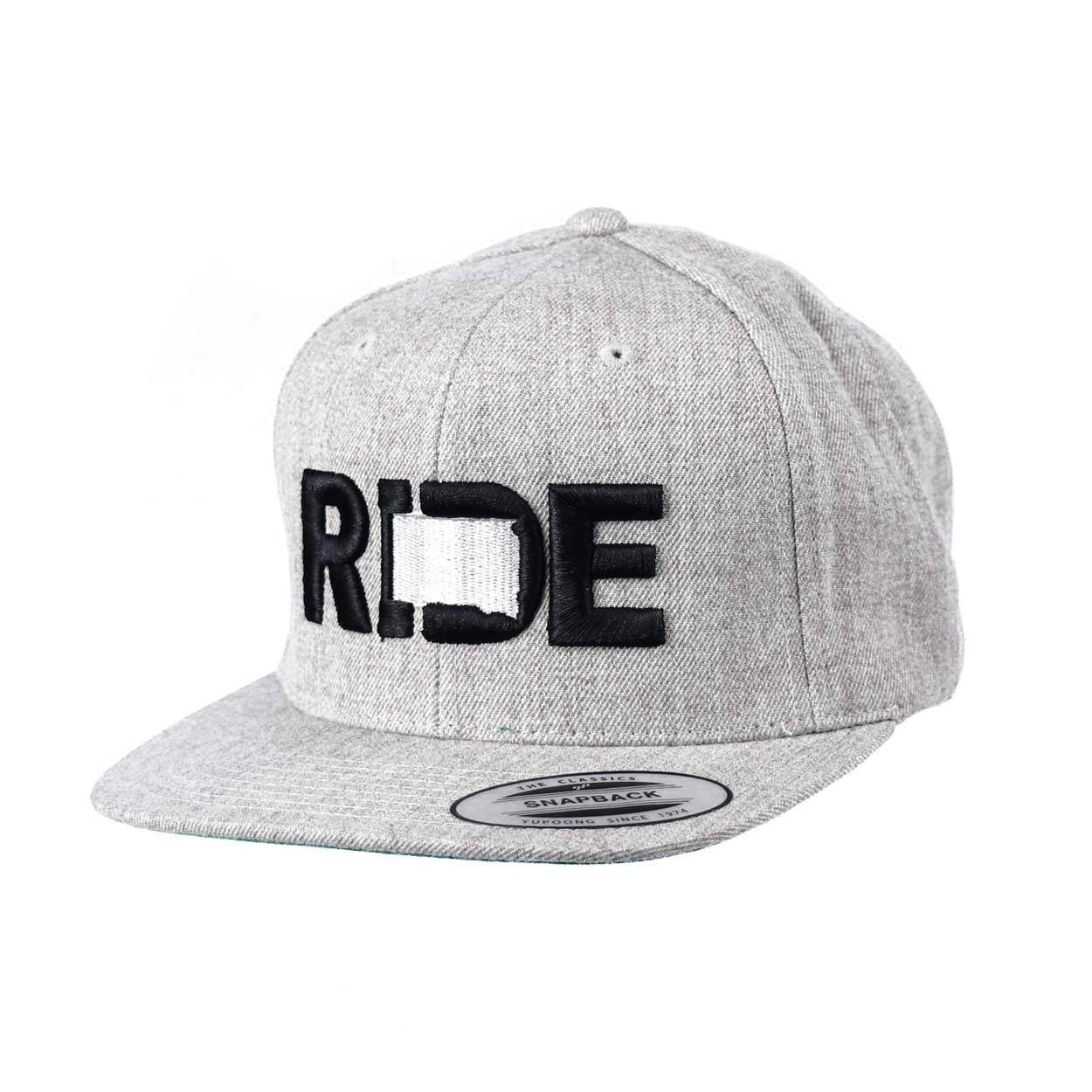 Ride South Dakota Classic Embroidered  Snapback Flat Brim Hat Gray/Black