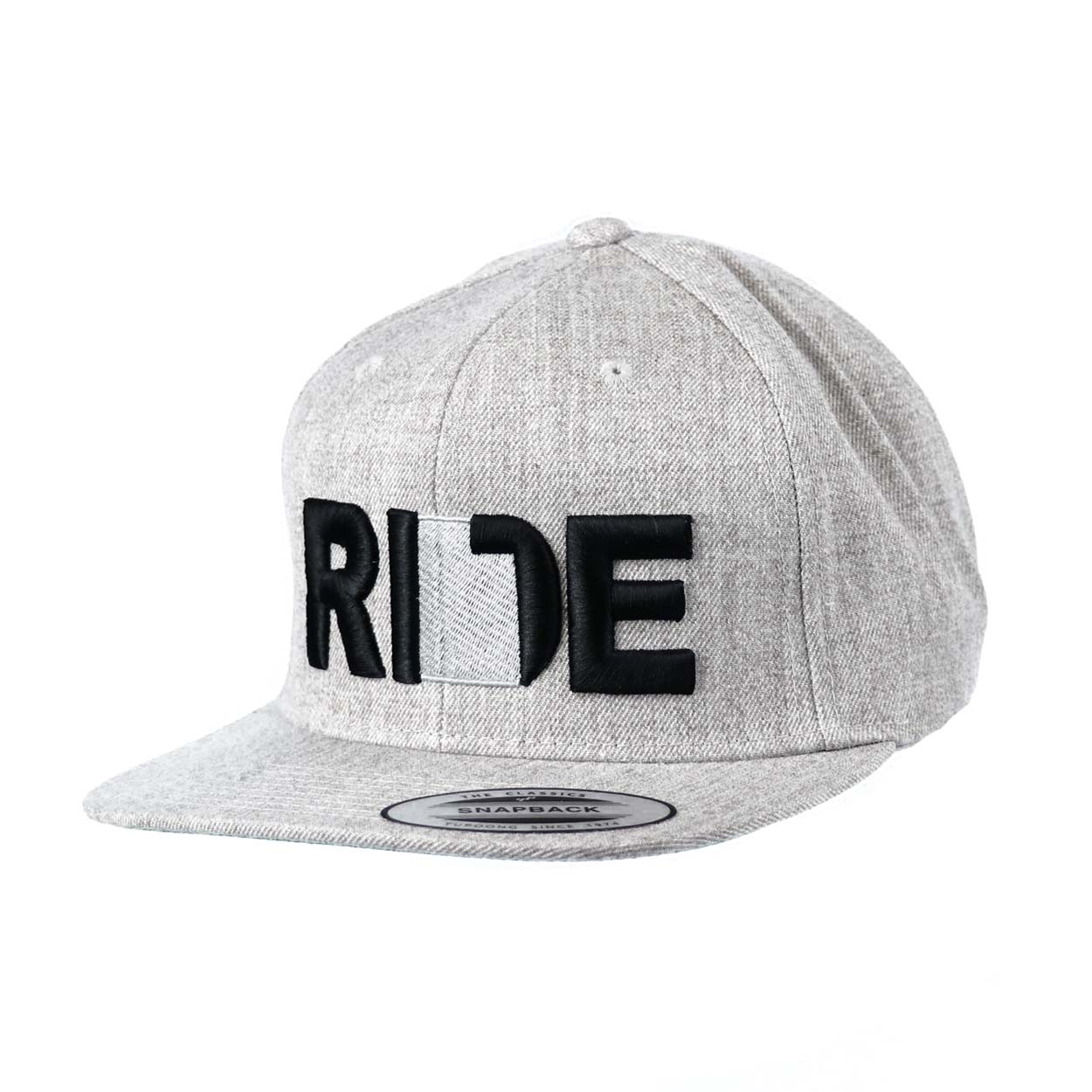 Ride Utah Classic Embroidered  Snapback Flat Brim Hat Gray/Black
