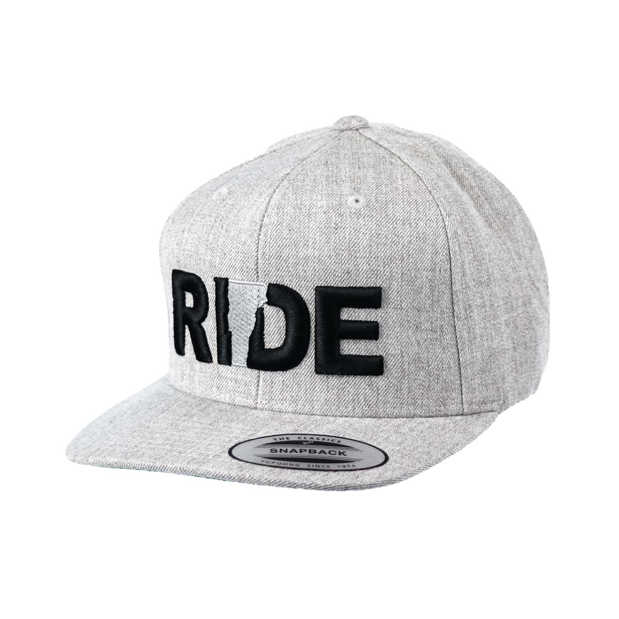 Ride Vermont Classic Embroidered  Snapback Flat Brim Hat Gray/Black